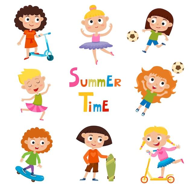Satz sommerkinder-outdoor-aktivitäten auf weißem hintergrund, hübsche cartoon-mädchen, die schlittschuh laufen, ball treten, tanzen und kick-scooter fahren. Premium Vektoren
