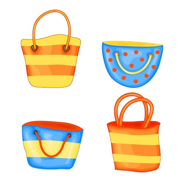 Satz sommerstrandtaschen in der netten karikaturart. vektor-illustration isoliert Premium Vektoren