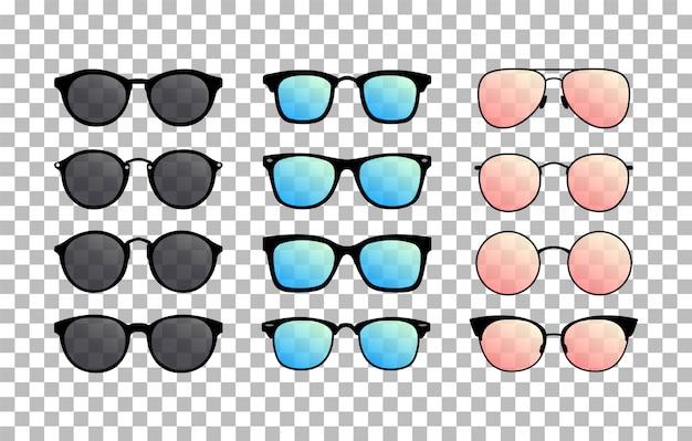 Satz sonnenbrillen auf dem transparenten hintergrund. sommerbrille. farbverlaufsgläser. vektor Premium Vektoren