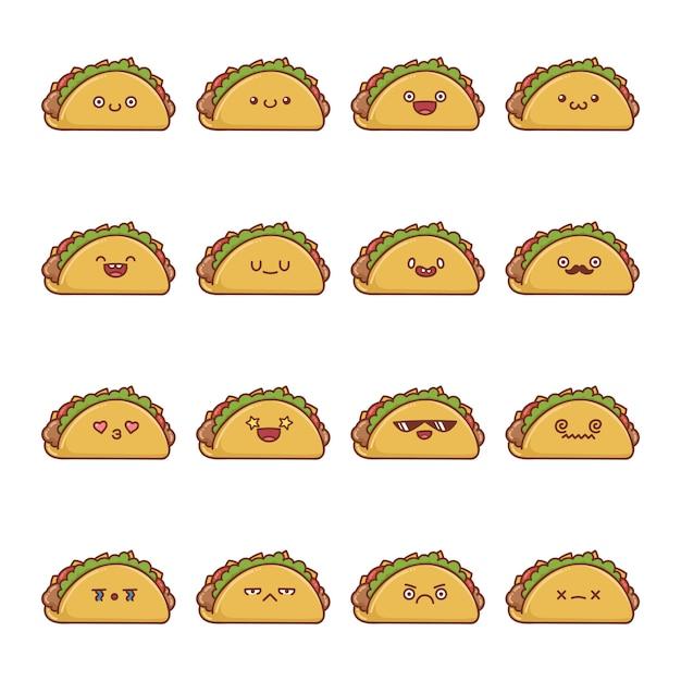 Satz spaß kawaii taco cartoons Premium Vektoren