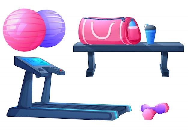 Satz sportausrüstung für eignungsübungen Premium Vektoren