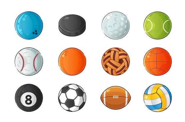 Satz sportballillustration Premium Vektoren