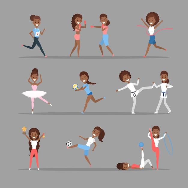 Satz sportfrauen. afroamerikanische mädchen machen verschiedene sportarten: basketball spielen, boxen, laufen und den wettbewerb gewinnen. gymnastik und ballett. flache vektorillustration Premium Vektoren