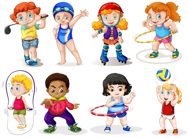 Satz sportkinder Kostenlosen Vektoren