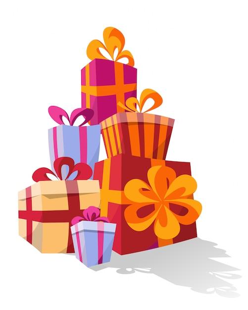 Satz stapel von bunten gebogenen geschenkboxen Premium Vektoren
