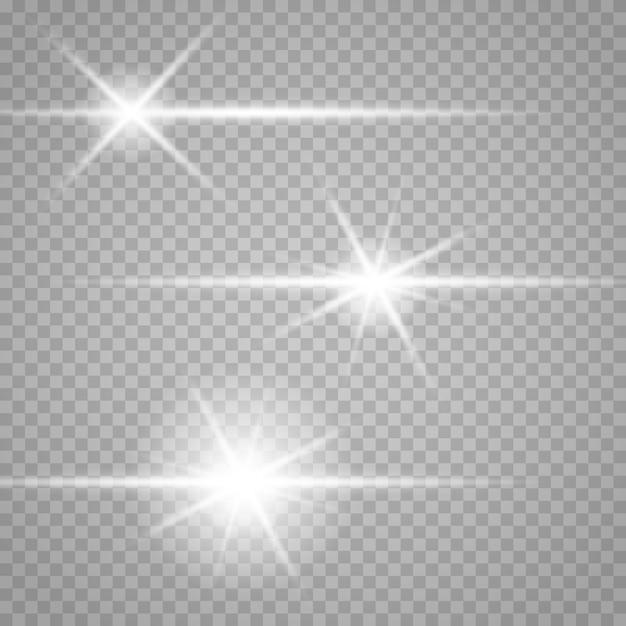 Satz sterne auf einem transparenten weißen und grauen hintergrund auf einem schachbrett. Premium Vektoren