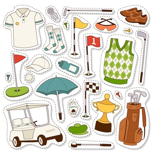 Satz stilisierter golfikonen Premium Vektoren