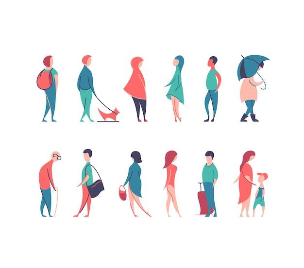 Satz stilisierter personenfiguren, flache linie und farbe männer und frauen in verschiedenen posen. Premium Vektoren