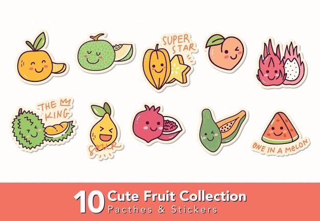 Satz süße fruchtflecken und aufkleber Premium Vektoren