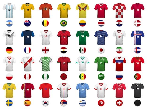 Satz t-shirts und flaggen der fußballnationalmannschaft. Premium Vektoren