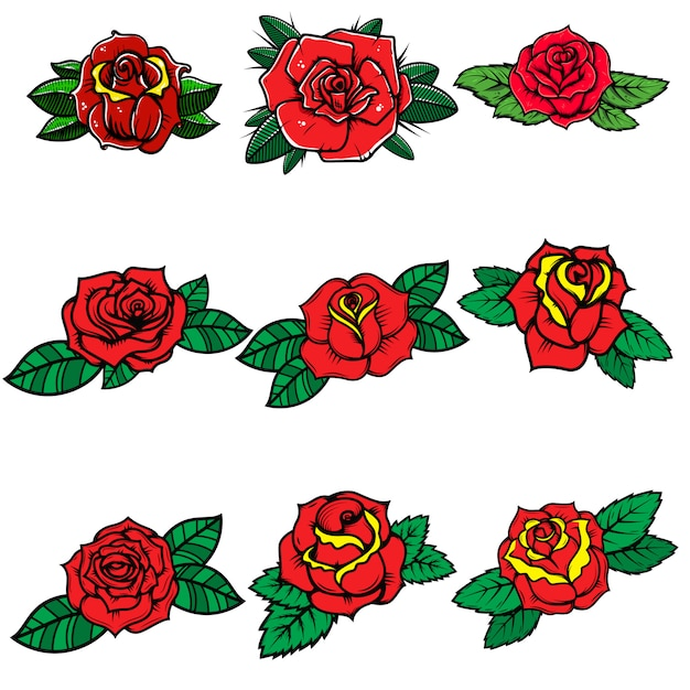 Satz tattoo-stil rosen. element für plakat, karte, banner, t-shirt. bild Premium Vektoren