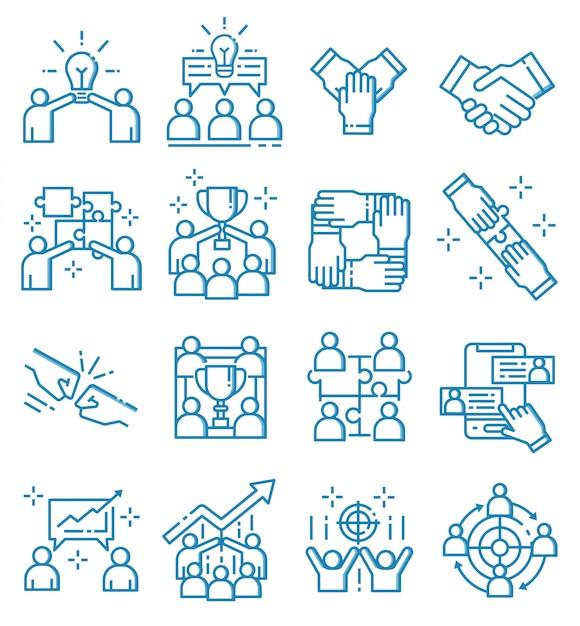 Satz teamwork-ikonen mit entwurfsart Premium Vektoren