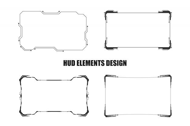 Satz technologie hud elementdesign lokalisiert Premium Vektoren