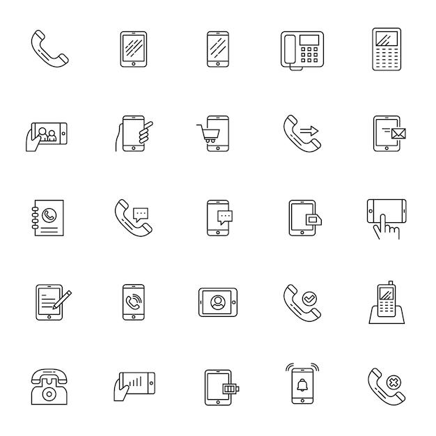 Satz telefon telekommunikationsikonen mit einfachem entwurf Premium Vektoren