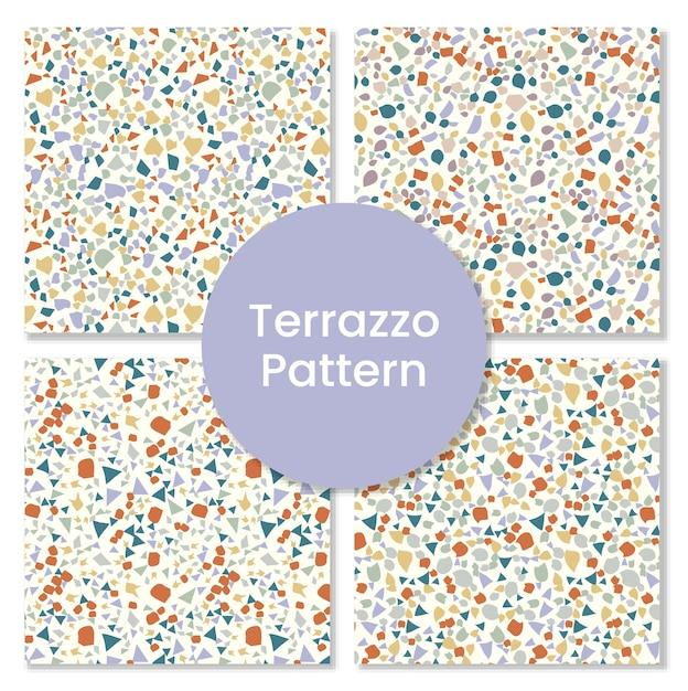 Satz terrazzomuster mit abstrakten formen. Premium Vektoren