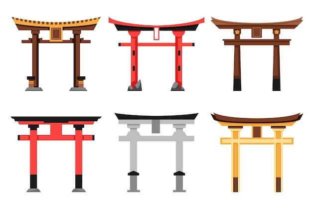 Satz torii-tor mit flachem design Kostenlosen Vektoren