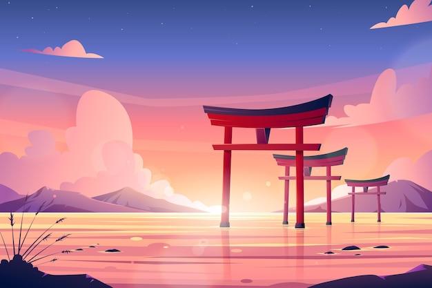Satz torii-tore im wasser Kostenlosen Vektoren