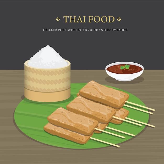 Satz traditionelles thailändisches essen, gegrilltes schweinefleisch mit klebreis und würziger soße über bananenblatt. karikaturillustration. Premium Vektoren