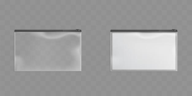 Satz transparente reißverschlusstaschen mit schwarzem reißverschluss Kostenlosen Vektoren