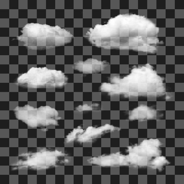 Satz transparenter realistischer verschiedener wolken Premium Vektoren