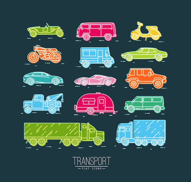 Satz transportikonen im flachen artauto, moto, lkw, rollerzeichnung mit farbe Premium Vektoren