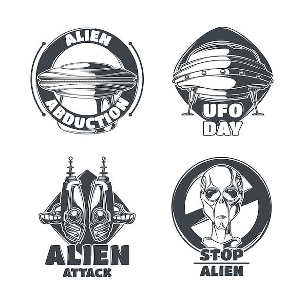 Satz ufo-embleme Kostenlosen Vektoren
