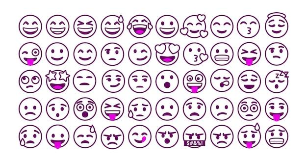 Satz umriss emoticons reaktion für soziale medien Premium Vektoren