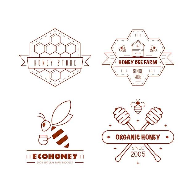 Satz umrisslogo-entwurfsvorlagen. bio- und öko-honigetiketten isoliert auf weiß. honigproduktionsfirma, honigverpackung. Premium Vektoren