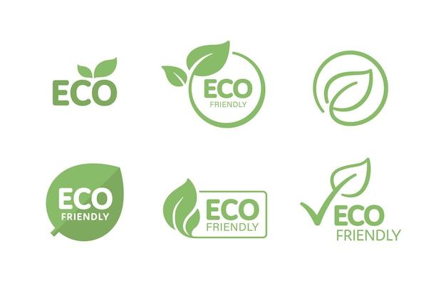 Satz umweltfreundlicher textetiketten für das verpackungsdesign von umweltfreundlichen, natürlichen und biologischen produkten. Premium Vektoren
