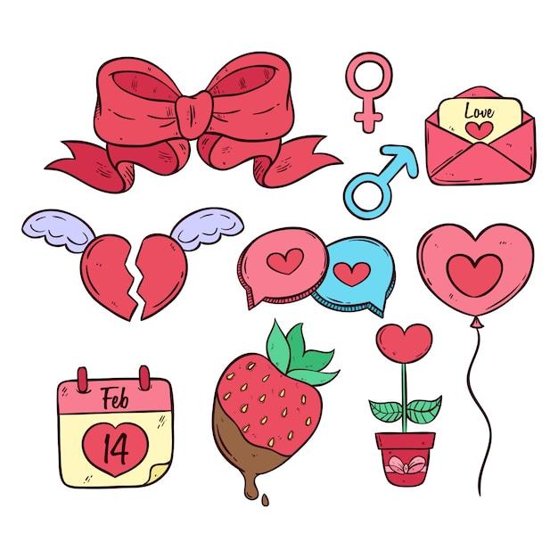 Satz valentinsgrußelemente mit farbiger hand gezeichneter art Premium Vektoren