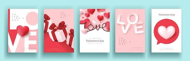 Satz valentinstag-verkaufsplakat oder fahnenhintergrund. Premium Vektoren