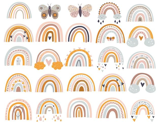 Satz vektorillustrationen niedliche regenbogen in einer einfachen artpastellfarbe Premium Vektoren