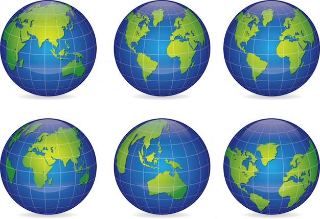 Satz vektorkugel-ikonenerde mit allen kontinenten Premium Vektoren