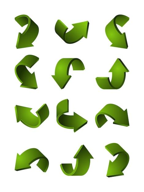 Satz verschiedene 3d pfeile grüne farbe. bilder kurve pfeil abbildung Premium Vektoren