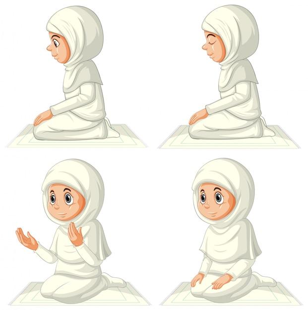 Satz verschiedene arabische muslimische mädchen in traditioneller kleidung in betender position lokalisiert auf weißem hintergrund Kostenlosen Vektoren