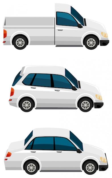 Satz verschiedene arten von autos in der weißen farbe Kostenlosen Vektoren