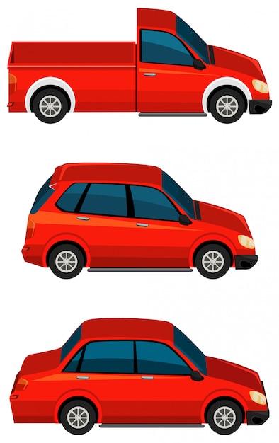 Satz verschiedene arten von autos in roter farbe Kostenlosen Vektoren