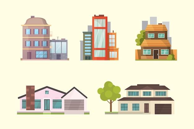 Satz verschiedene arten wohnhäuser. retro- und moderne gebäude der stadtarchitektur. hausfrontkarikaturillustrationen. Premium Vektoren