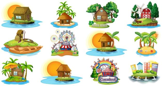 Satz verschiedene bangalows und inselstrandthema und vergnügungspark lokalisiert auf weißem hintergrund Kostenlosen Vektoren