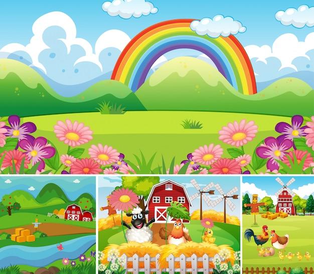 Satz verschiedene bauernhofszenen mit tierfarm und regenbogenkarikaturstil Kostenlosen Vektoren