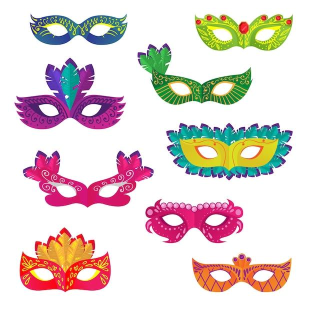 Satz verschiedene bunte karnevals- oder feiertags-ziermaske für frau oder mädchen Premium Vektoren