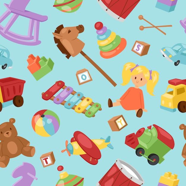 Satz verschiedene cartoon kinderspielzeugsammlung hintergrund spielerische kinder zeug. verschiedene cartoon-spielzeuge pferde, piranid, auto, ball Premium Vektoren