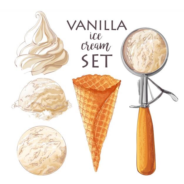 Satz verschiedene eisportionierer des aquarells in den waffelkegeln mit sortierten kugeln der vanille Premium Vektoren