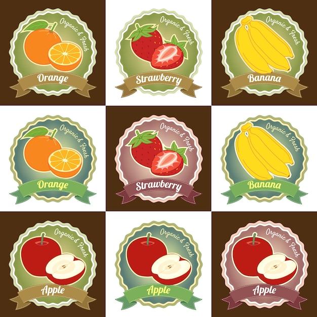 Satz verschiedene erstklassige qualität der frischen früchte etikettieren aufkleberausweisdesign Premium Vektoren