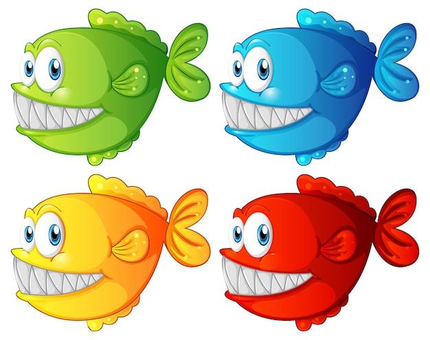 Satz verschiedene farbe exotische fischkarikaturfigur auf weißem hintergrund Kostenlosen Vektoren