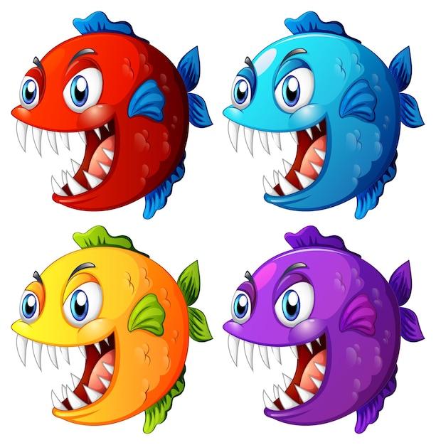 Satz verschiedene farbe exotischen fisch mit karikaturfigur der großen augen auf weißem hintergrund Kostenlosen Vektoren