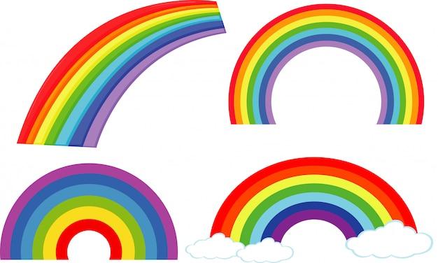 Satz verschiedene formen von regenbogen auf weiß Kostenlosen Vektoren