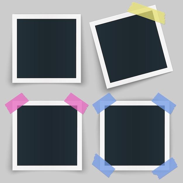 Satz verschiedene fotorahmen mit farbband und schatten lokalisiert auf transparentem hintergrund. Premium Vektoren