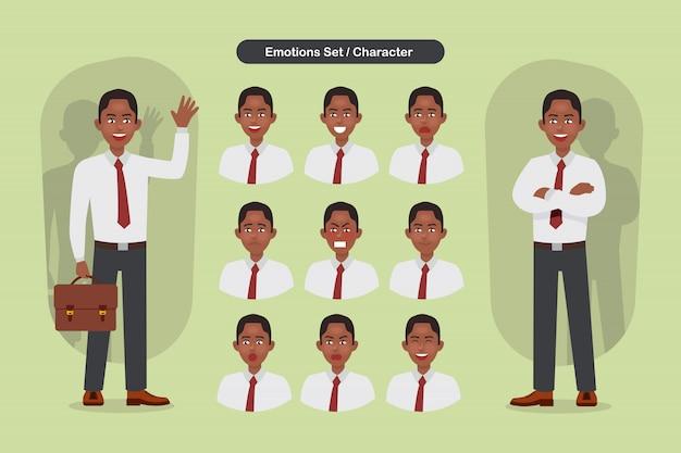 Satz verschiedene gesichtsausdrücke des geschäftsmannes. mann emoji charakter Premium Vektoren