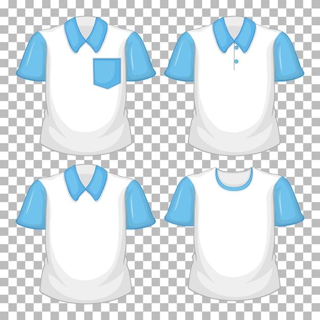 Satz verschiedene hemden mit blauen ärmeln lokalisiert auf transparentem hintergrund Kostenlosen Vektoren
